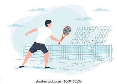 Vector illustration - tennis game. Man with racket on background with court. Banner, poster template with place for your text.