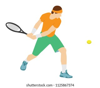 Vector illustration - tennis game. Man with racket.