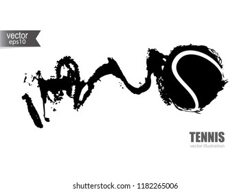 Vector illustration for tennis. Grunge abstract hand drawing flying ball. Horizontal Element for the design of a banner, poster, flyer.