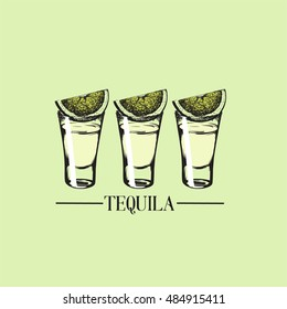 Vector illustration of tequila glasses made in hand drawn style. Vector template for business card, banner, poster and print.  Bar menu design. Cocktail party icon.