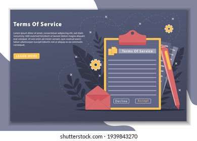 Vector illustration Term of service concept with landing page. terms of service contract document signed Clipboard with terms of service document. Terms of use, terms and conditions concepts.