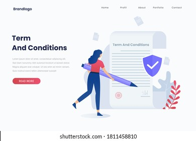 Vector illustration of terms and conditions concept. Illustration for websites, landing pages, mobile applications, posters and banners.