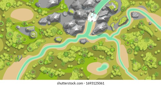 Vector illustration. The terrain. Top view. Mountains, river, sea, forest. View from above.