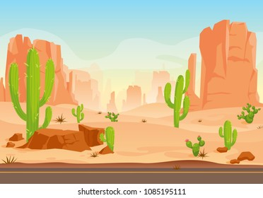 Vector illustration of Texas desert landscape with cactuses, road, hills, plants and mountains. Vector Western scene in flat style. Cartoon Wild West Texas. Mexican desert.