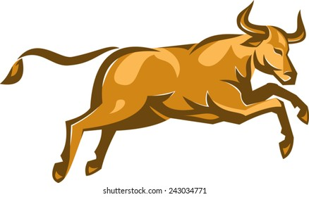 vector illustration of a texas longhorn bull jumping viewed from side done in retro style on isolated white background.