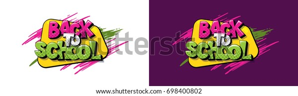 vector illustration. Text back to school. In the style of comics of colorful. Design element for the design of leaflets, cards, envelopes, covers, flyers sales