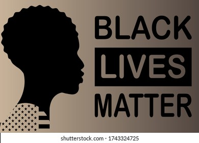 """Vector illustration with the text """"Black Lives Matter"""". Silhouette of a black man and the flag of the United States of America."""