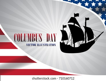 Vector illustration text Columbus Day with boat on flag background.