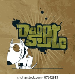Vector illustration with text in graffiti-style and cartoon dog character.
