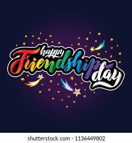 Vector illustration. Text Happy Friendship Day in heart of falling stars, planets, comets and galaxies on cosmic background. Space design. Lettering Happy Friendship day in heart shape in universe.