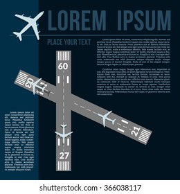 Vector illustration with text template, airplanes and runways.
