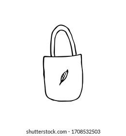 Vector illustration. Textile bag isolated on white background.