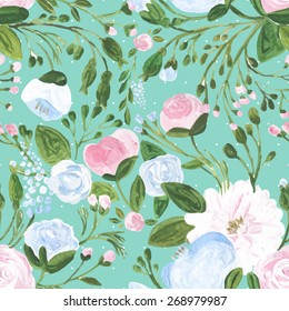 Vector illustration for textile, wallpapers, wedding, birthday and different holidays. Cute summer and spring background. Floral pattern with acrylic flowers on the tiffany background. Isolated.