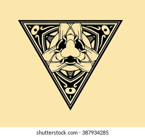 vector illustration texture symmetrical pattern of the elements of geometric shapes and lines in black on a yellow background triangle