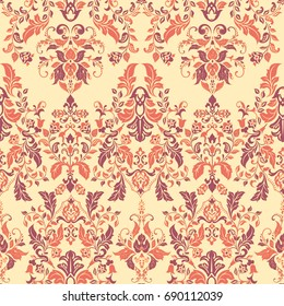 Vector illustration texture for wallpapers, fabric patterns. Baroque Damask seamless floral pattern.