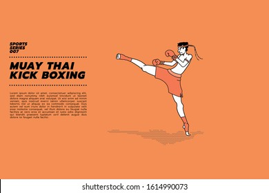 Vector illustration of Thai boxer doing  Wai Khru. Martial arts of Muay Thai Boxing, Muay Thai Kick Boxing.