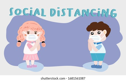 Vector illustration of Thai Wai, Student boy and girl are greeting in Namaste hands, keeping distance to protect spread of corona virus. Idea social distancing to prevent COVID-19 outbreak.