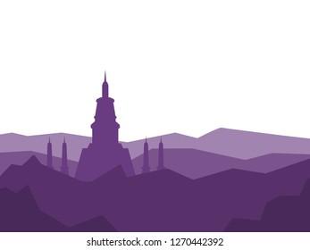 Vector Illustration Thailand Bangkok Wat Arun Ratchawararam. Buddhist Temple of Dawn Isolated on white background