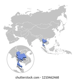 Vector illustration of Thailand in blue on the grey model of Asia map with zooming replica of country.