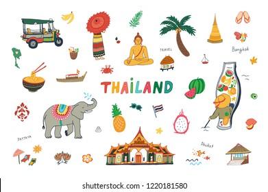 vector illustration of Thailand, design travel landmarks doodle set
