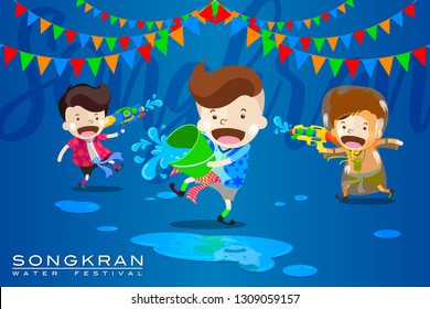 """Vector Illustration for """"Songkran"""" or """"Water Festival"""" in Thailand and many other countries in Southeast Asia with cute cartoon in the colorful shirt take a water gun to splashing water at each other"""