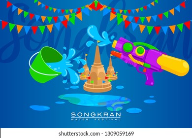 "Vector Illustration for ""Songkran"" or ""Water Festival"" in Thailand and many other countries in Southeast Asia with a colorful water gun, a water's bucket and sand pagoda"