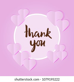 vector illustration of thank you card with hearts paper cut outs