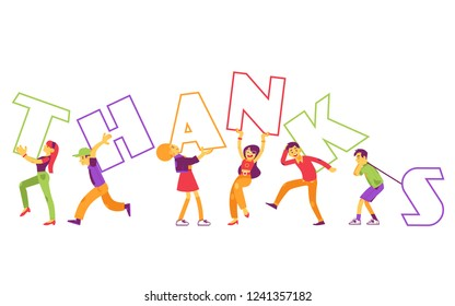 Vector illustration of Thanks text design with various people holding big letters in flat style - modern layout for gratitude web page or banner with team carrying thankful word.