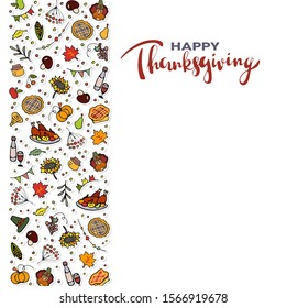 Vector illustration of Thanksgiving Day text and Thanksgiving Day banner with pumpkins, turkey and pie. Thanksgiving lettering typography poster / card / invitation / banner