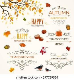 Vector Illustration of Thanksgiving Design Elements
