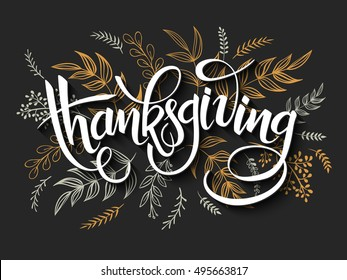 vector illustration of thanksgiving greeting hand lettering label - with doodle brunches and leaves in black and gold color.