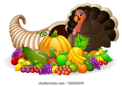 Vector illustration of Thanksgiving horn of plenty cornucopia full of vegetables and fruit with cartoon turkey bird