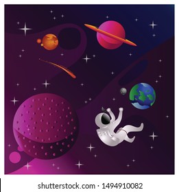 A vector illustration that illustrates the contents of the solar system in space. Show the beauty of space.