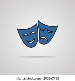 vector illustration, theater masks ,carnaval concept, grey background