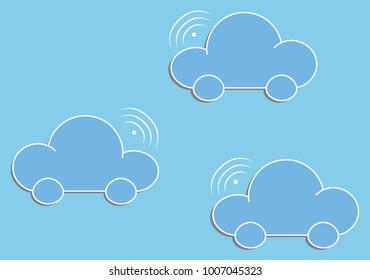 Vector illustration of thee cloud cars. Future cars. EPS10