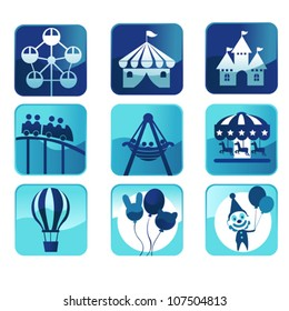A vector illustration of theme park icons