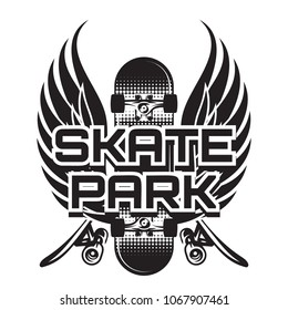 vector illustration of a theme skateboarding with wings.
