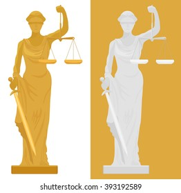 Vector illustration of Themis Femida statue in two color styles.