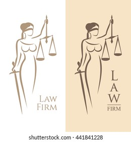 Vector illustration of Themis statue holding scales balance and sword isolated on white background and silhouette on colored background. Symbol of justice, law and order