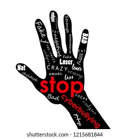 Vector illustration of thenar, hand with lettering bullying, intimidate, bully, cow, browbeat, bluff, daunt. Social media poster. Society problem. from Internet