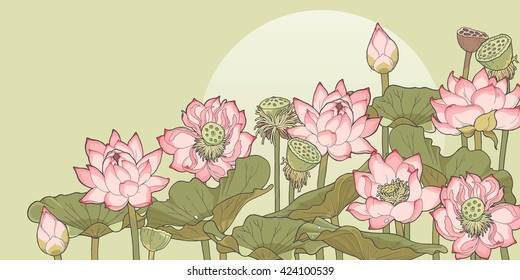 Vector illustration of thickets of blooming and withered lotus