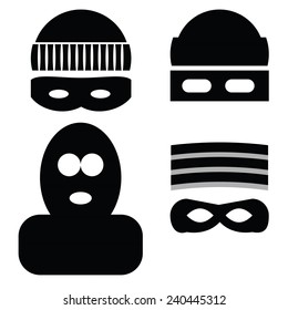 Vector  Illustration  with Thief Icons on White Background. Set of Robber Kidnapper Bully Fraudster Icon