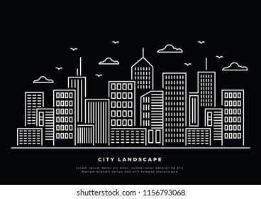 Vector Illustration : Thin line City. Downtown landscape with high skyscrapers