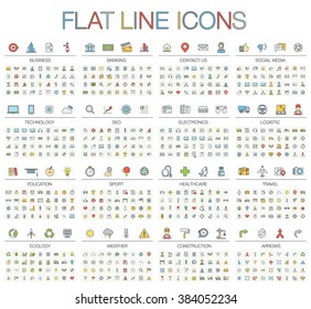 Vector illustration of thin line color icons: business, banking, contact, social media, technology, logistic, education, sport, medicine, travel, weather, construction, arrow. Linear flat symbols set.