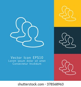 Vector illustration of thin line community icon . Can be used as company logo, badge, web interface and mobile application button, pictogram