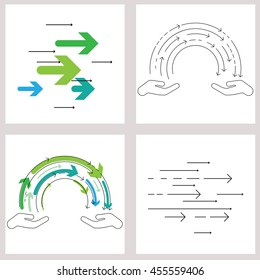 vector illustration / thin line flat design for knowledge exchange concept with two hands and flow of arrows symbols in between