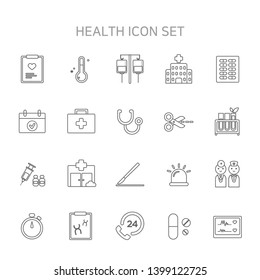 Vector illustration of thin line icons for medical, hospital, hospital icon, medical icon, health icon, chart, checkup, thermometer, temperature, sap, ringer.
