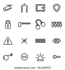 Vector illustration of thin line icons - security