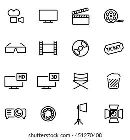 Vector illustration of thin line icons - cinema