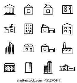 Vector illustration of thin line icons - buildings